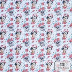 Tissu coton Frida Catrina X10cm - Rouge  - 1TissucotonFrida Catrina - Rouge 100% coton - certifié OekoTex Hauteur Frida : 5cm