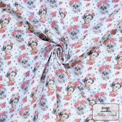 Tissu coton Frida Catrina X10cm - Rouge  - 2TissucotonFrida Catrina - Rouge 100% coton - certifié OekoTex Hauteur Frida : 5cm