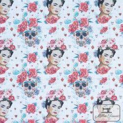 Tissu coton Frida Catrina X10cm - Rouge  - 3TissucotonFrida Catrina - Rouge 100% coton - certifié OekoTex Hauteur Frida : 5cm