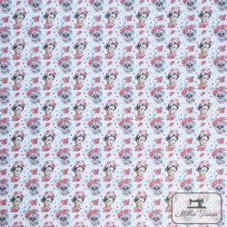 Tissu coton Frida Catrina X10cm - Rouge  - 4TissucotonFrida Catrina - Rouge 100% coton - certifié OekoTex Hauteur Frida : 5cm
