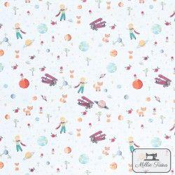 Tissu coton Le Petit Prince X10cm - Blanc  - 1Tissucoton Le Petit Prince - Blanc 100% coton - certifié OekoTex Hauteur du Petit