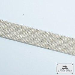 Biais Savoie métal - lin  - 1Biaisimitation lin brillant doré très discret - lin 84%coton, 13% polyester, 3% polyacrylique La