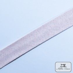 Biais Savoie métal - rose  - 1Biaisimitation lin brillant argent très discret - rose 84%coton, 13% polyester, 3% polyacrylique