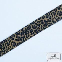 Biais léopard - marron  - 1Biais léopard - marron 100%coton Largeur : 20 mm Certifié OekoTex  1 unité = 0m50 ; pour plusieurs l