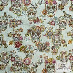 Tissu Jacquard Cristobal X10cm - Blanc  - 1TissujacquardCristobal- Blanc Raccord : environ 38 cm 100% polyester Laize d'1m40