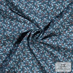 Tissu coton Petites Fleurs rouges à pois blancs X10cm - Marine  - 1Tissu coton petites fleurs rouges à pois blancs - Marine 100%