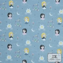 Tissu coton Princesses X10cm - bleu gris  - 1Tissu cotonPrincesses - Bleu Gris 100% coton Hauteur motif: environ 3,7cm - Raccor