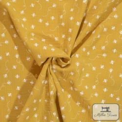 Tissu Double gaze coton abeilles X10cm - moutarde  - 1Double Gaze abeilles - moutarde 100%coton Raccord : 10cm Laize d'1m35 Le