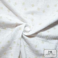 Tissu Double gaze coton abeilles X10cm - blanc  - 1Double Gaze abeilles - blanc 100%coton Raccord : 10cm Laize d'1m35 Le tissu
