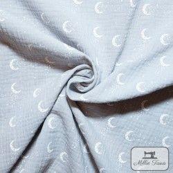 Tissu Double gaze coton lunes X10cm - gris  - 1Double Gazelunes -gris 100%coton Raccord : 8,5 cm Laize d'1m35 Le tissu est ve