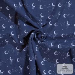 Tissu Double gaze coton lunes X10cm - marine  - 1Double Gaze lunes -marine 100%coton Raccord : 8,5 cm Laize d'1m35 Le tissu es