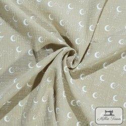 Tissu Double gaze coton lunes X10cm - lin  - 1Double Gaze lunes - lin 100%coton Raccord : 8,5 cm Laize d'1m35 Le tissu est vend