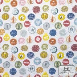 Tissu coton Capsules X10cm - blanc  - 1TissucotonCapsules - Blanc 100% coton - Bio GOTS Hauteur : 2m - Raccord 10,7 cm Laize d