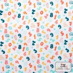 Tissu coton Ecole - Les chiffres X10cm - blanc  - 1TissucotonEcole -Les chiffres - Blanc 100% coton - Bio GOTS Hauteur: envir