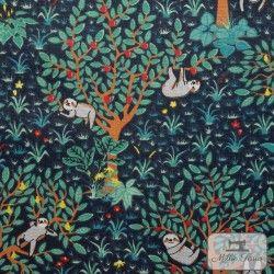 Tissu coton cretonne Paresseux X10cm - Pétrole  - 1Tissu cretonneParesseux -Vert 100% coton Hauteur arbre: environ 13cm - Rac