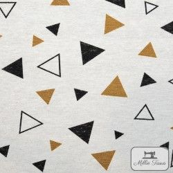 Tissu ameublement polycoton Triangles X10cm - ocre  - 1Tissu coton d'ameublement Triangles - blanc et ocre 70%coton - 30% polyes