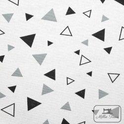 Tissu ameublement polycoton Triangles X10cm - Gris  - 1Tissu coton d'ameublement Triangles - blanc etgris 70%coton - 30% polyes