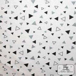 Tissu ameublement polycoton Triangles X10cm - Gris  - 3Tissu coton d'ameublement Triangles - blanc etgris 70%coton - 30% polyes