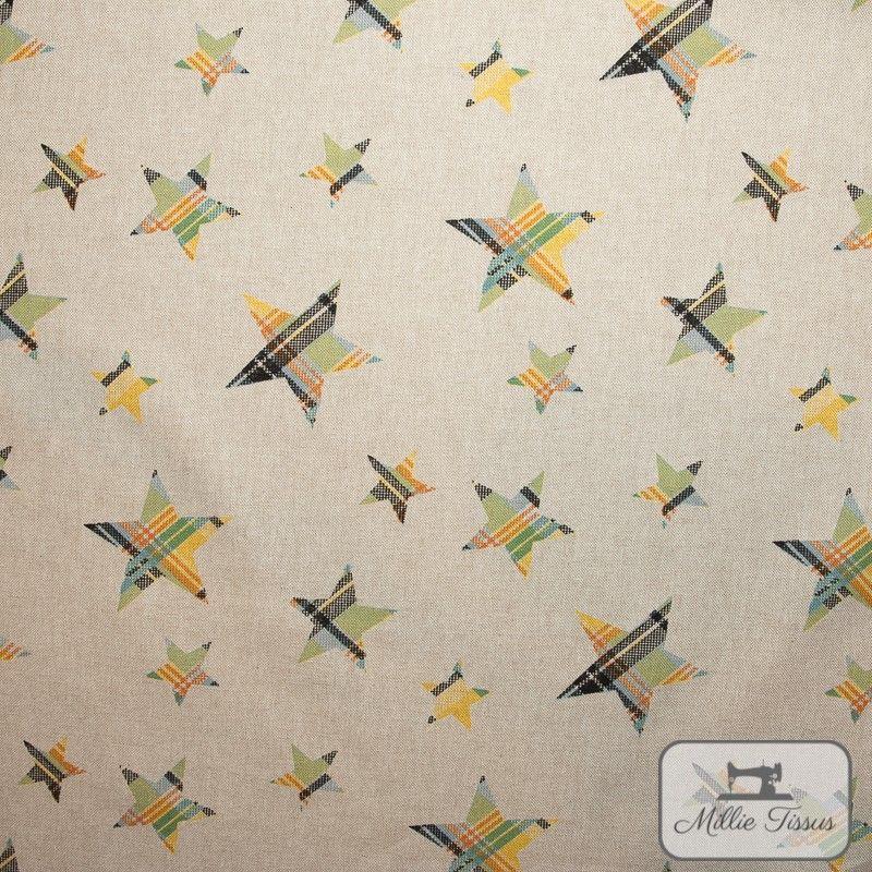 Tissu ameublement polycoton Etoiles madras X10cm - jaune  - 1Tissu coton d'ameublement Etoiles madras -jaune et vert 80%coton -