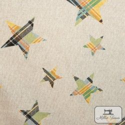Tissu ameublement polycoton Etoiles madras X10cm - jaune  - 3Tissu coton d'ameublement Etoiles madras -jaune et vert 80%coton -