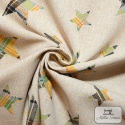 Tissu ameublement polycoton Etoiles madras X10cm - jaune  - 2Tissu coton d'ameublement Etoiles madras -jaune et vert 80%coton -