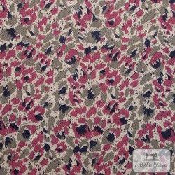 Tissu ameublement polycoton Camouflage X10cm - Bourgogne  - 1Tissu coton d'ameublement Camouflage -bourgogne 80%coton - 20% pol