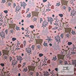 Tissu ameublement polycoton Biche X10cm - rose  - 1Tissu coton d'ameublement Biche - Rose 70% coton - 30% polyester Raccord : 31