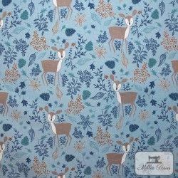 Tissu ameublement polycoton Biche X10cm - bleu  - 1Tissu coton d'ameublement Biche - Bleu 70% coton - 30% polyester Raccord : 31