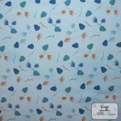 Tissu ameublement polycoton Pommes de pin X10cm - bleu  - 1Tissu coton d'ameublement Pommes de pin - Bleu 70% coton - 30% polyes