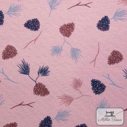 Tissu ameublement polycoton Pommes de pin X10cm - rose  - 2Tissu coton d'ameublement Pommes de pin -Rose 70% coton - 30% polyes