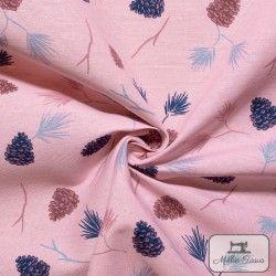 Tissu ameublement polycoton Pommes de pin X10cm - rose  - 3Tissu coton d'ameublement Pommes de pin -Rose 70% coton - 30% polyes