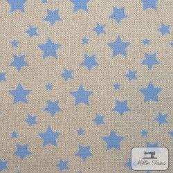 Tissu ameublement polycoton Etoiles X10cm - bleu  - 1Tissu coton d'ameublement Etoiles - bleu 80% coton - 20% polyester Hauteur
