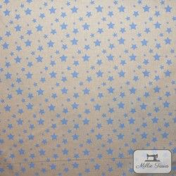 Tissu ameublement polycoton Etoiles X10cm - bleu  - 2Tissu coton d'ameublement Etoiles - bleu 80% coton - 20% polyester Hauteur