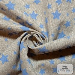 Tissu ameublement polycoton Etoiles X10cm - bleu  - 3Tissu coton d'ameublement Etoiles - bleu 80% coton - 20% polyester Hauteur