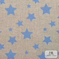 Tissu ameublement polycoton Etoiles X10cm - bleu  - 4Tissu coton d'ameublement Etoiles - bleu 80% coton - 20% polyester Hauteur