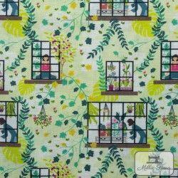 Tissu coton Botanique - Par la fenêtre X10cm - blanc  - 1Tissucoton Botanique - Par la fenêtre -vert 100% coton - Bio GOTS Rac