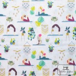 Tissu coton Botanique - Yoga X10cm - blanc  - 1Tissucoton Botanique -Yoga - Blanc 100% coton - Bio GOTS Raccord 12 cm Laize d'