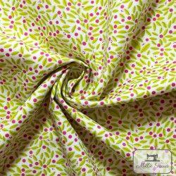 Tissu coton Botanique - Feuillage X10cm - blanc  - 2Tissucoton Botanique -Feuillage- Blanc 100% coton - Bio GOTS Raccord 14 c