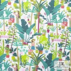 Tissu coton Botanique - Passion X10cm - blanc  - 1Tissucoton Botanique -Passion - Blanc 100% coton - Bio GOTS Raccord : 13,1 c