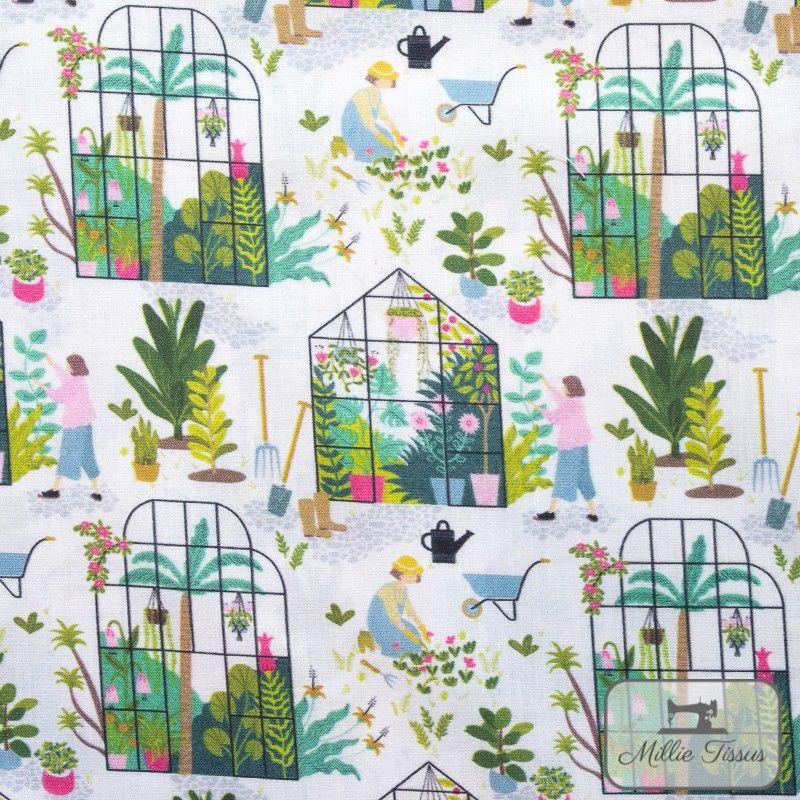 Tissu coton Botanique - Dans la serre X10cm - blanc  - 1Tissucoton Botanique -Dans la serre - Blanc 100% coton - Bio GOTS Racc