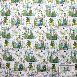 Tissu coton Botanique - Dans la serre X10cm - blanc  - 4Tissucoton Botanique -Dans la serre - Blanc 100% coton - Bio GOTS Racc
