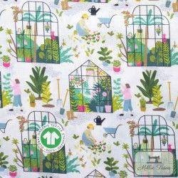 Tissu coton Botanique - Dans la serre X10cm - blanc  - 5Tissucoton Botanique -Dans la serre - Blanc 100% coton - Bio GOTS Racc