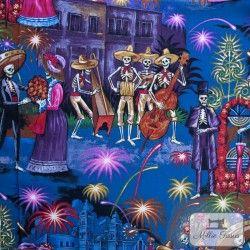 """Tissu coton AHF """"La Parranda"""" X10cm - bleu nuit Alexander Henry Fabrics - 1Tissucoton """"La Parranda"""" - bleu nuit 100% coton Racc"""