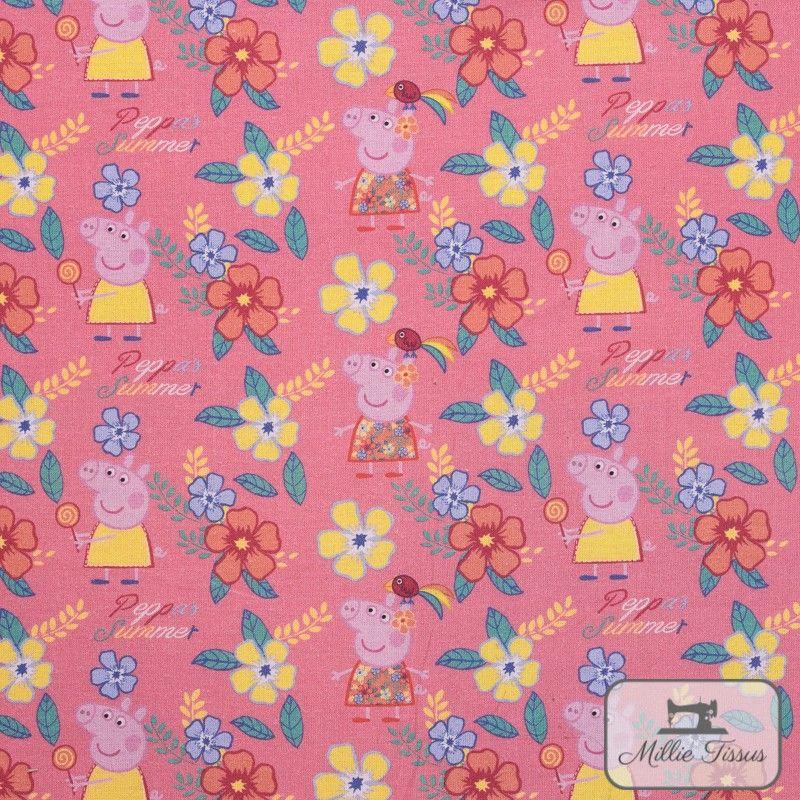 Tissu coton Peppa Pig Summer X10cm - Rose  - 1TissucotonPeppa Pig Summer - Rose 100% coton - Bio certifié GOTS Hauteurdu mot