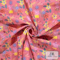 Tissu coton Peppa Pig Summer X10cm - Rose  - 2TissucotonPeppa Pig Summer - Rose 100% coton - Bio certifié GOTS Hauteurdu mot