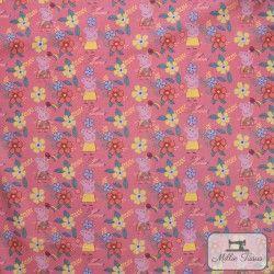 Tissu coton Peppa Pig Summer X10cm - Rose  - 3TissucotonPeppa Pig Summer - Rose 100% coton - Bio certifié GOTS Hauteurdu mot
