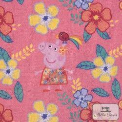 Tissu coton Peppa Pig Summer X10cm - Rose  - 4TissucotonPeppa Pig Summer - Rose 100% coton - Bio certifié GOTS Hauteurdu mot