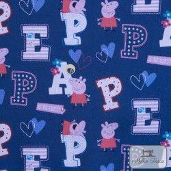Tissu coton Peppa Pig Lettres X10cm - Bleu  - 1TissucotonPeppa PigLettres - Bleu 100% coton - Bio certifié GOTS Hauteurdu m