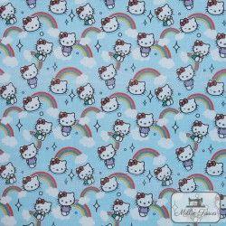 Tissu coton Hello Kitty Arc-en-Ciel X10cm - Bleu  - 1Tissucoton Hello kitty Arc-en-Ciel - Bleu 100% coton - Bio certifié GOTS