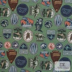 Tissu coton Jurassic Park X10cm - Vert  - 1Tissucoton Jurassic Park - Vert 100% coton - Bio certifié GOTS Hauteur motif : envi
